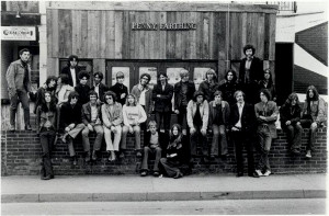 Sunday Oct 12 1969 front of Penny Farthing includes Cathy Young centre bottom, Danny Marks Top row 3rd from right and many other well known musicians