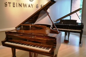 "And here's the ""jewel in the crown"" - the handcrafted Macassar Ebony Steinway grand, worth a cool qtr million! Everyone wanted to touch it, play it...and so they did!"