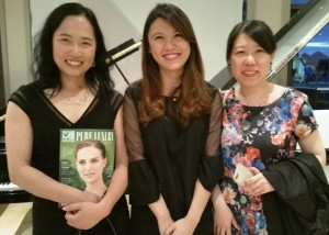 Charming and knowledgeable piano consultant Phyllis Zhong (ctr) was joined by 2 friends