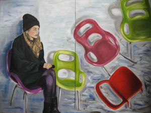 The Wait 48w x 36h Oil diptych