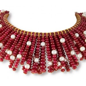 Ruby fringe with pearls