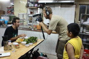 Lyndon behind the camera, shooting a segment for Chefs Run Wild in S.E. Asia