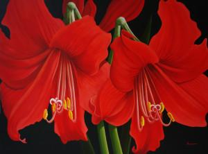 'Splendor - Amaryllis'  36 x 48 Acrylic