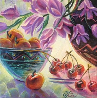 CHERRIES 12_ x 12_ oil on canvas by Janna Kroupko