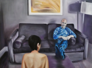 THE COMFORTABLE SOFA oil on canvas by Grace Dam