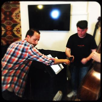 Engineer Sean Carey and assistant Matt getting the bass mic'd for Michael Galeazzi