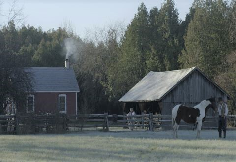 Frank (Bruno Verdoni), Elizabeth (Marianne Sawchuk) and Dancer doing a master shot at Lang Pioneer Village. Screen Shot (2)