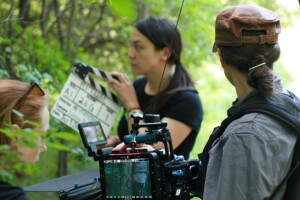 Our all female camera crew at Kleinburg Chelsea Springgay, 1st Assistant Camera, Deirdre Leowinata, 2nd Assistant Camera, and Sarah Thomas Moffat (Cinematographer)